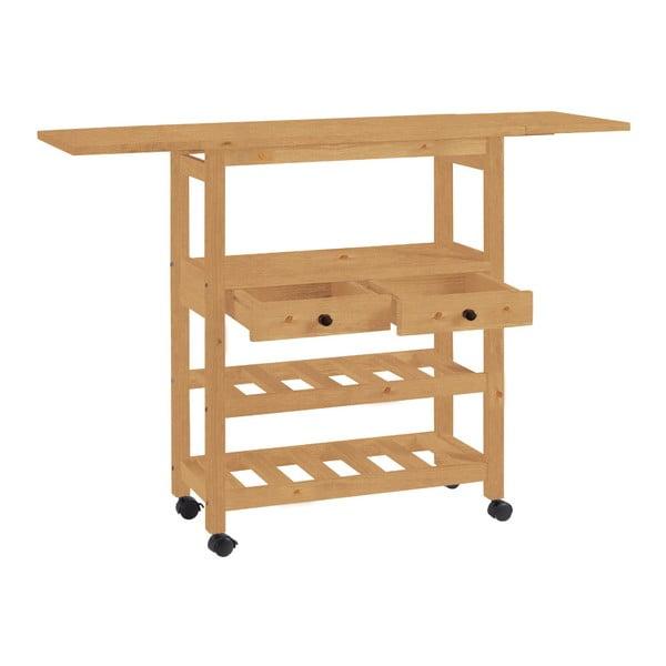 Cărucior de bucătărie extensibil din lemn de pin Støraa Nemo