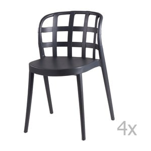 Set 4 scaune sømcasa Gina, gri închis