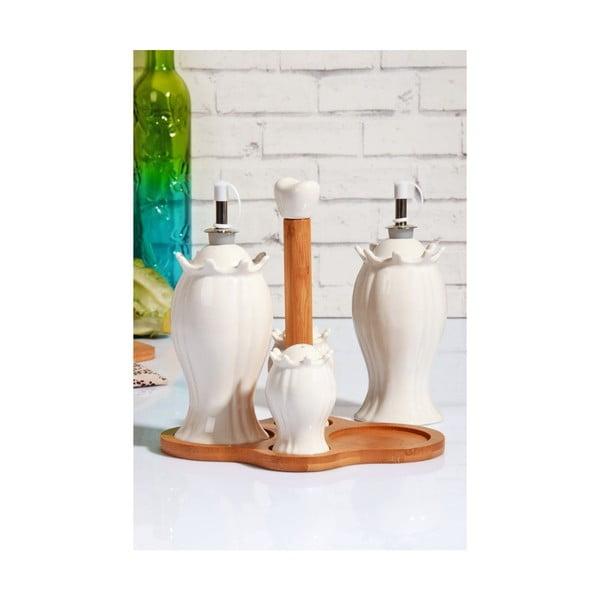 Set porcelánové pepřenky, slánky a 2 lahví na olej na bambusovém podnosu Marinos