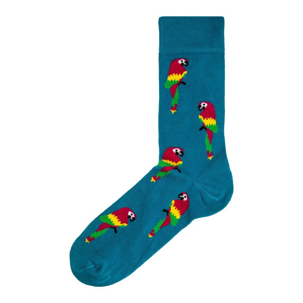 Červeno-modré pánské ponožky Funky Steps Parrots, velikost 41 - 45