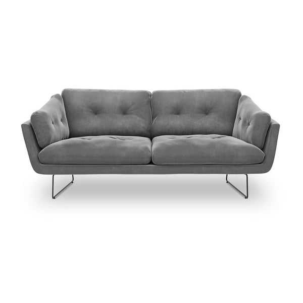 Canapea cu 3 locuri și tapițerie de catifea Windsor & Co Sofas Gravity, gri