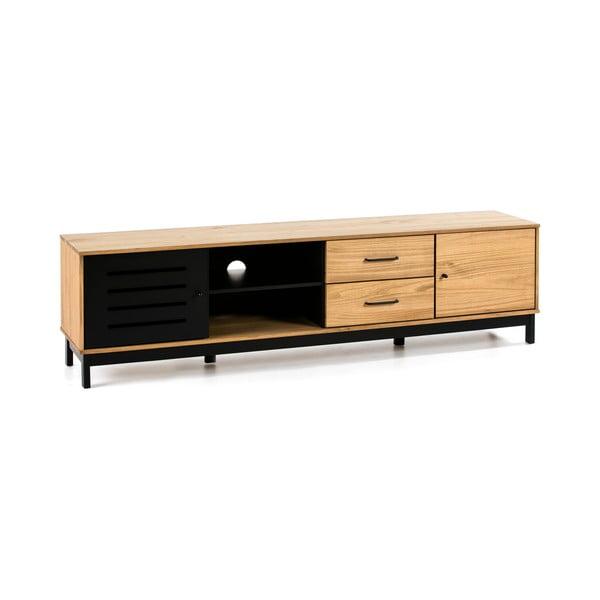 TV stolek s dřevěnou konstrukcí a černými detaily Marckeric Alessia