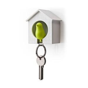 Věšák na klíče vrabčák v budce, zelená
