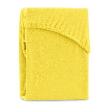 Cearșaf elastic pentru pat dublu AmeliaHome Ruby Yellow, 220-240 x 220 cm, galben imagine