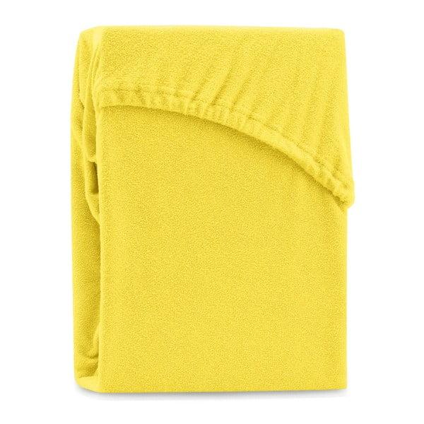 Žluté elastické prostěradlo na dvoulůžko AmeliaHome Ruby Yellow, 180-200 x 200 cm