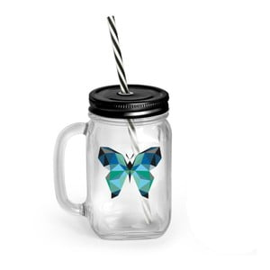 Borcan cu capac și pai Vialli Design Mia Natura Butterfly, 450 ml