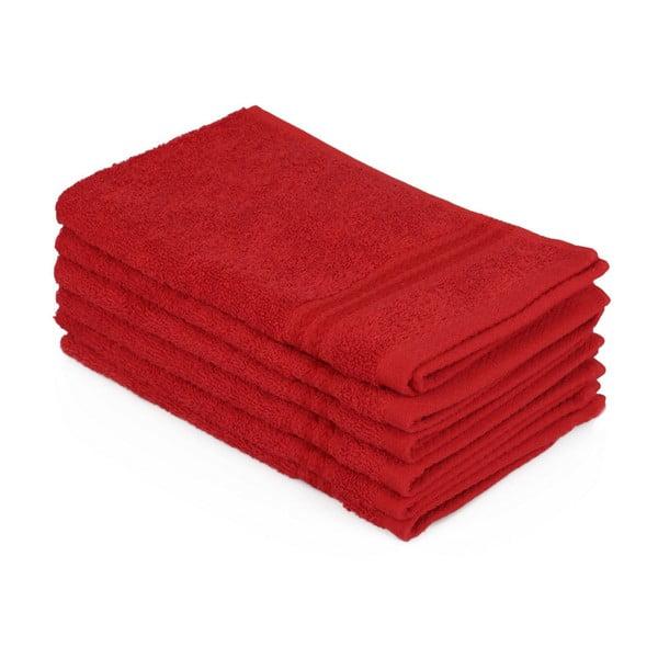 Komplet 6 czerwonych bawełnianych ręczników Madame Coco Lento Rojo, 30x50 cm
