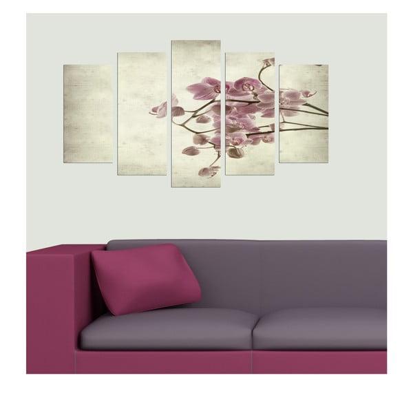 Pětidílný obraz Orchidejová, 110x60 cm