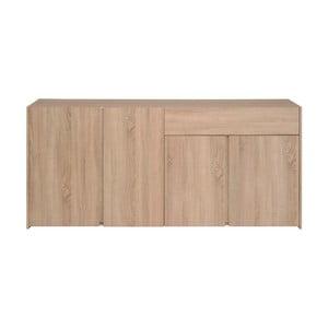 Čtyřdveřová komoda v dekoru dubového dřeva se zásuvkou Parisot Bruay