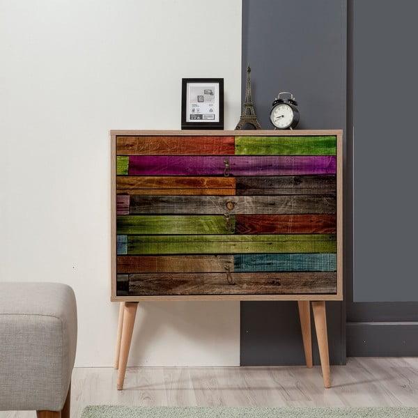 Dřevěná komoda se 3 šuplíky Kasiani Rainbow