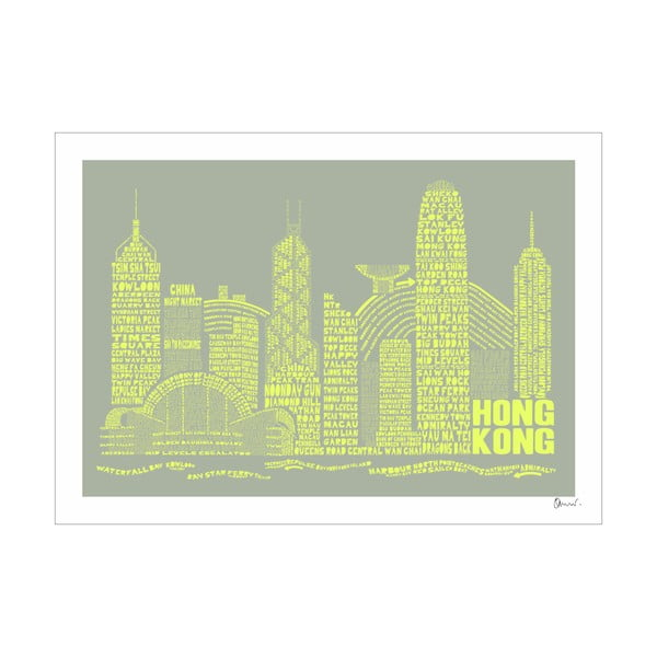 Plakát Hong Kong Grey&Yellow, 50x70 cm