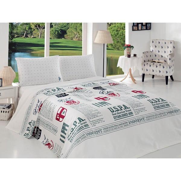 Sada přehozu přes postel a prostěradla US Polo 160x220 cm, White and Olive Green