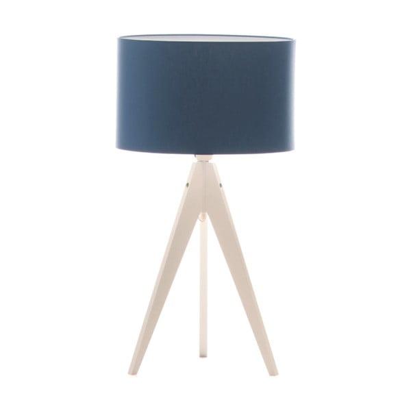 Modrá stolní lampa 4room Artist, bílá bříza lakovaná, Ø 33 cm