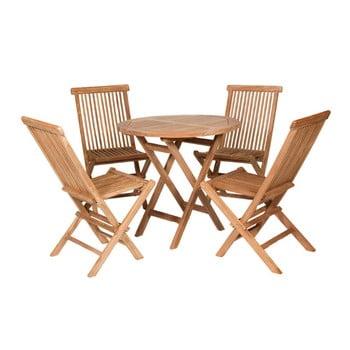 Masă de exterior cu 4 scaune din lemn de tec Santiago Pons Mateo
