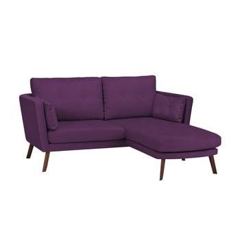 Canapea cu 3 locuri Mazzini Sofas Elena cu șezlong pe partea dreaptă mov închis