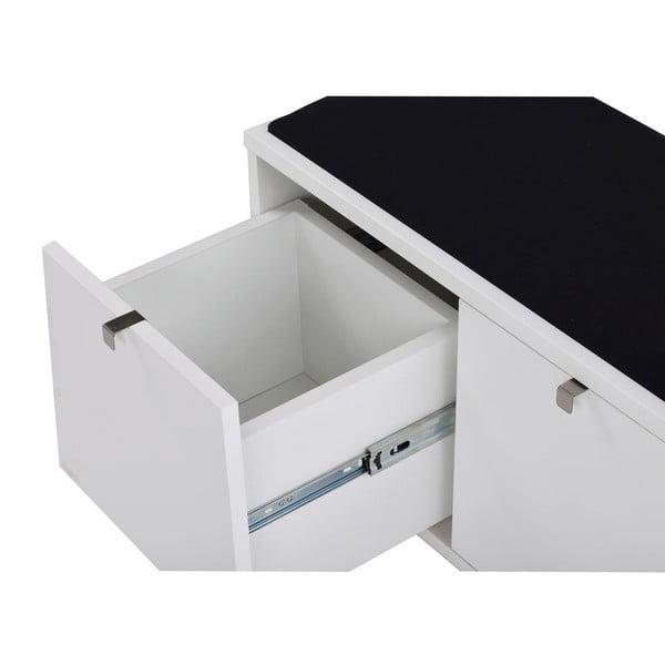 Bancă cu spațiu pentru depozitare și șezut negru Folke Confetti, lățime 106cm, alb