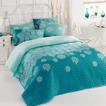Set Cuvertura Si Fete De Perna Simay Turquoise, 200 X 220 Cm