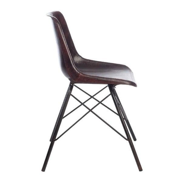 Sada 2 tmavě hnědých kožených židlí J-Line Cross