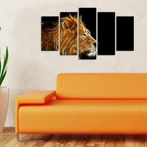 Pětidílný obraz Lev, 110x60 cm