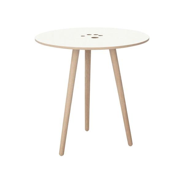 Handy fehér tárolóasztal világosbarna lábak, ⌀ 50 cm - WOOD AND VISION