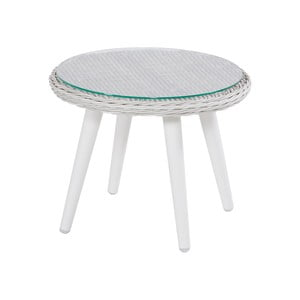 Proutěný zahradní stolek s povrchem ze sklad Hartman Casablanca, ø50cm