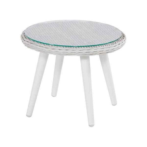 Prútený záhradný stolík s povrchom zo skla Hartman Casablanca, ø 50 cm