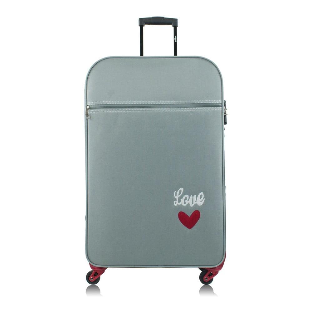 Světle zelený Černý kufr na kolečkách INFINITIF Love, 50 l