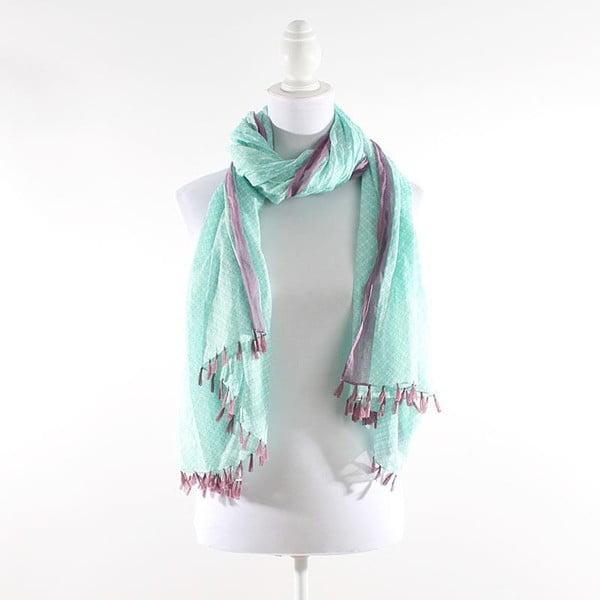 Šátek, zelený s purpurovým akcentem
