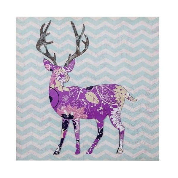 3D obrázek Ewax Purple Reindeer, 40x40 cm