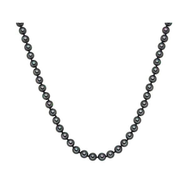 Perlový náhrdelník Muschel, antracitové perly 8 mm, délka 40 cm