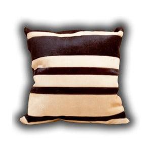 Polštář z pravé kůže Pipsa Stripes, 45x45cm