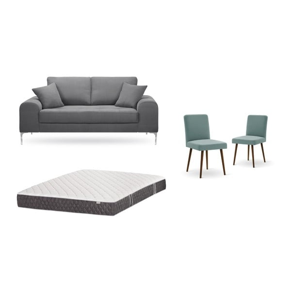 Set canapea gri închis, 2 scaune gri-verde, o saltea 140 x 200 cm Home Essentials