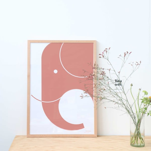 Plakát SNUG.Elephant, 50x70 cm, světle šedý