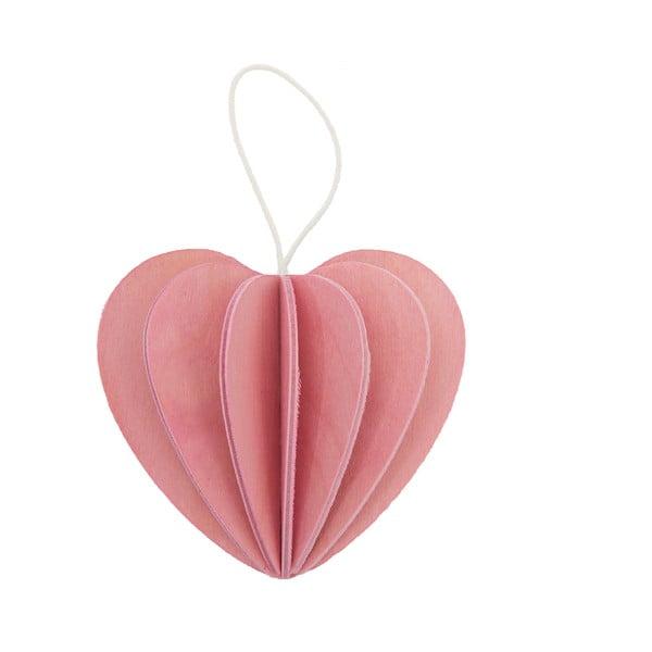 Skládací pohlednice Heart Light Pink, 6.8 cm