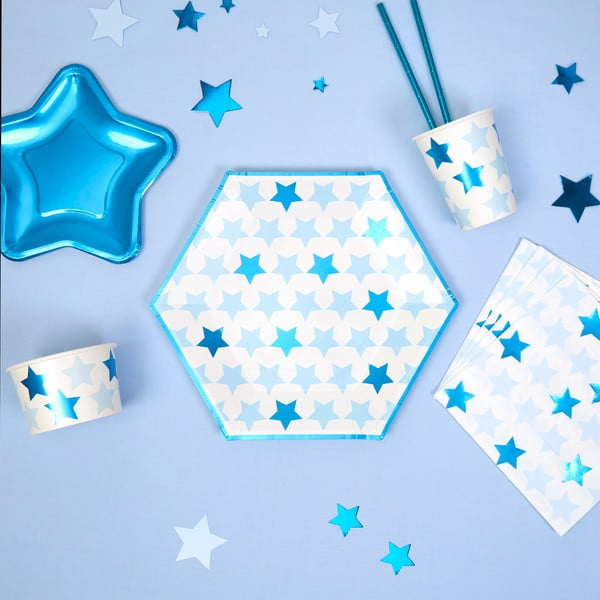 Sada 8 papírových talířů Neviti Little Star Blue