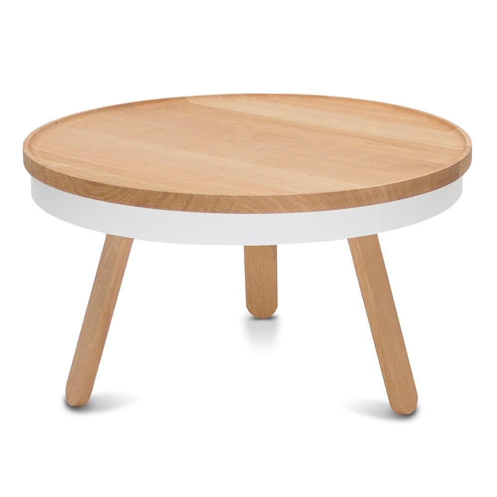 Přírodno-bílý odkládací stolek z dubového dřeva s úložným prostorem Woodendot Batea M