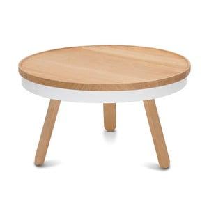 Masă din lemn de stejar cu spațiu de stocare Woodendot Batea M, alb