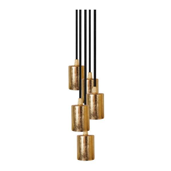 Závěsné svítidlo s 5 černými kabely a zlatou objímkou Bulb Attack Cero Group
