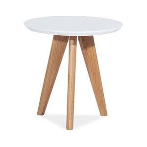 Bílý odkládací stolek s nohama z dubového dřeva Signal Milan, ⌀50cm
