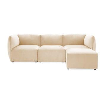 Canapea modulară cu 3 locuri și suport pentru picioare Vivonita Velvet Cube, bej nisipiu de la Vivonita