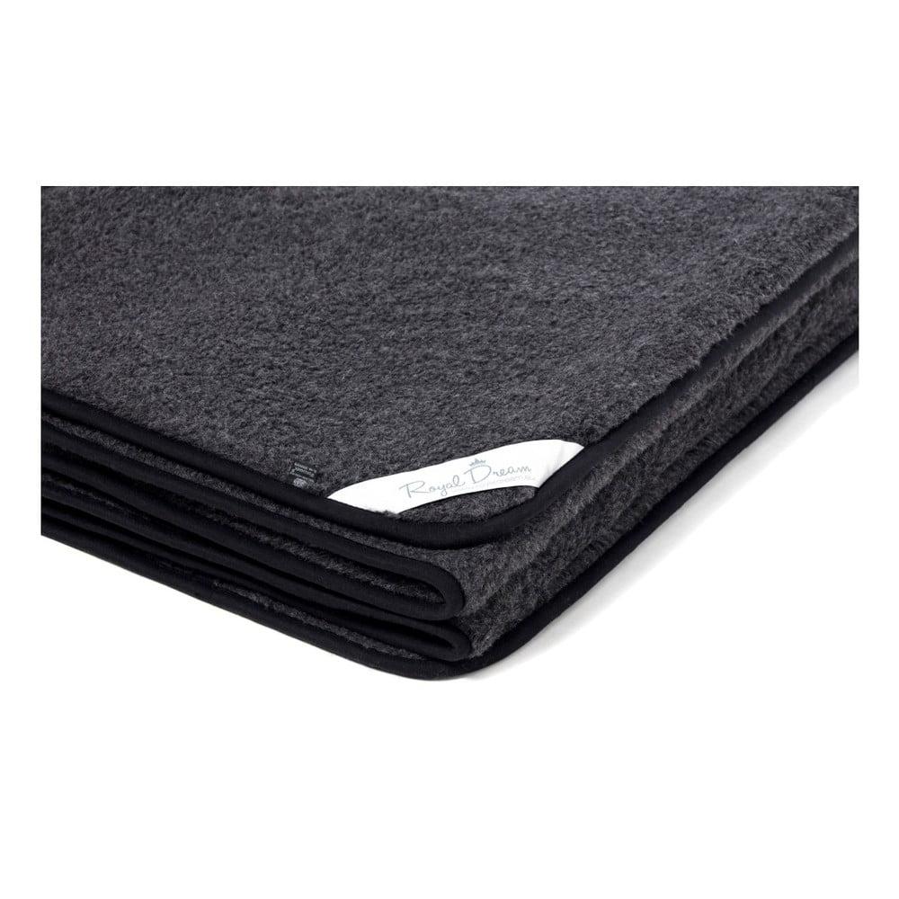 Černá deka z merino vlny Royal Dream, 220 x 200 cm