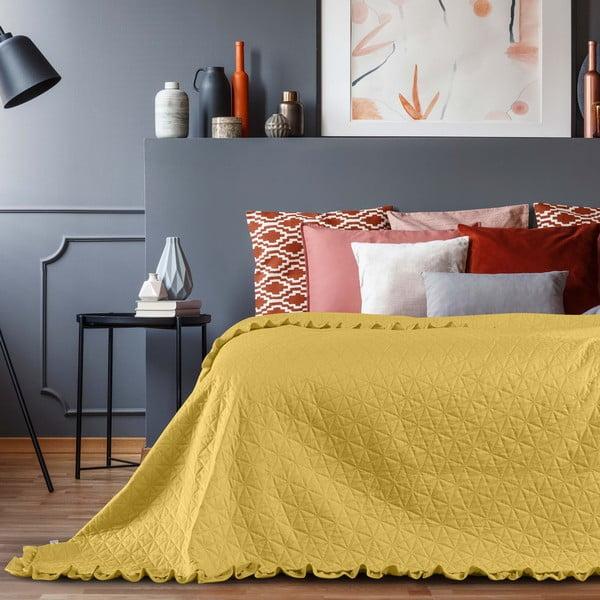 Żółta narzuta AmeliaHome Tilia, 220x240 cm