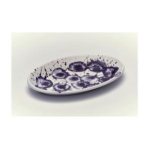 Fialovobílý smaltovaný servírovací talíř Kapka Floral Madness