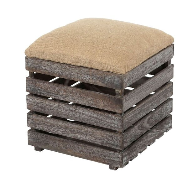 Hnědá dřevěná taburetka Mendler Shabby Vintage Chic