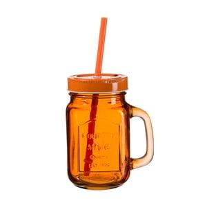 Tmavě oranžová sklenice s víčkem a brčkem SUMMER FUN II BUNT, 450ml