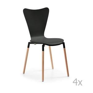 Sada 4 černých jídelních židlí La Forma Eclectic