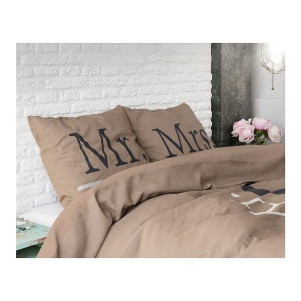 Hnědé povlečení z mikroperkálu na dvoulůžko Sleeptime Mr and Mrs Right,200x220cm