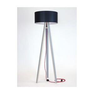 Šedá stojací lampa s černým stínítkem a červeným kabelem Ragaba Wanda