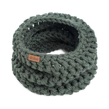 Fular circular tricotat manual DOKE Tommy, verde măsliniu imagine