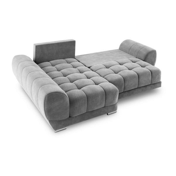 Canapea extensibilă cu înveliș de catifea Windsor & Co Sofas Nuage, pe partea stângă, gri